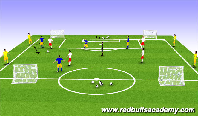 Football/Soccer Session Plan Drill (Colour): 4v4 +Bumpers