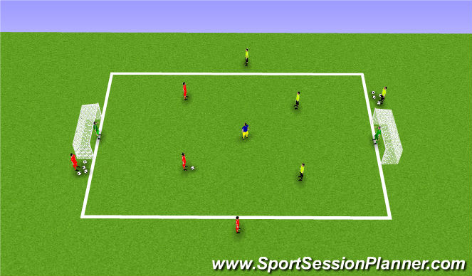 Football/Soccer Session Plan Drill (Colour): 2v2 + number 8