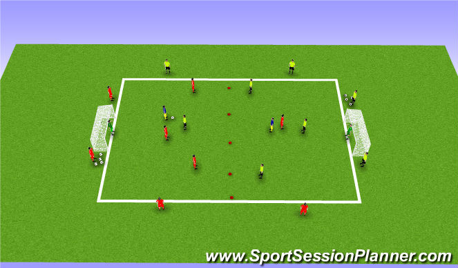 Football/Soccer Session Plan Drill (Colour): 4v4+ number 6