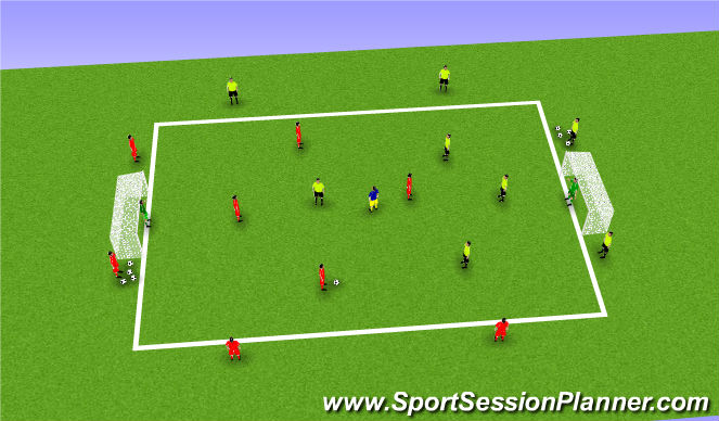 Football/Soccer Session Plan Drill (Colour): 4v4 + number 8