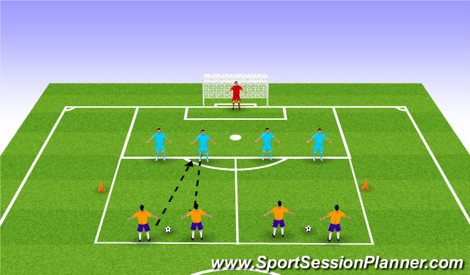 Football/Soccer Session Plan Drill (Colour): 2 v 2s
