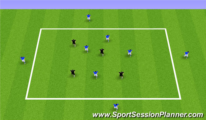 Football/Soccer Session Plan Drill (Colour): 4v4 (+4) Quick Reactions Dynamic Negative Transition Game