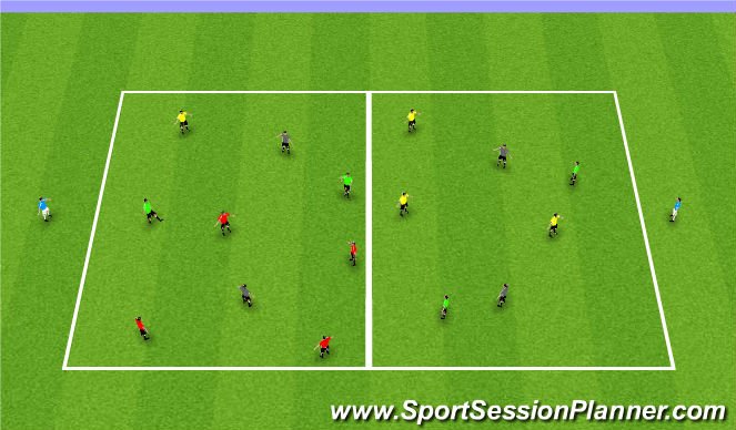 Football/Soccer Session Plan Drill (Colour): 4 Team Possession