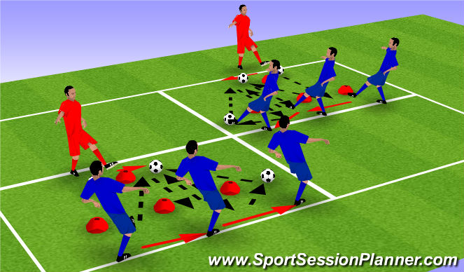 Football/Soccer Session Plan Drill (Colour): Left Foot & Right Foot Pass and Move