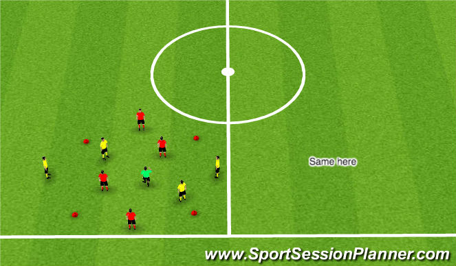 Football/Soccer Session Plan Drill (Colour): Passing/Combination Warm Up