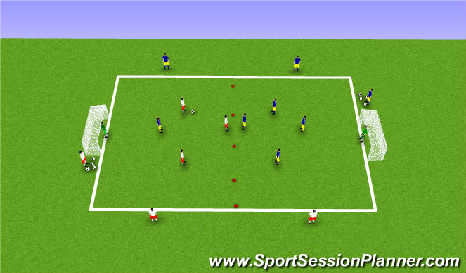 Football/Soccer Session Plan Drill (Colour): 3v3+ number 6