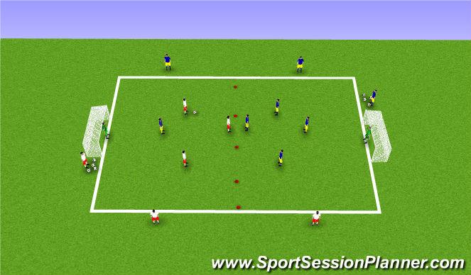 Football/Soccer Session Plan Drill (Colour): 3v3+ number 6