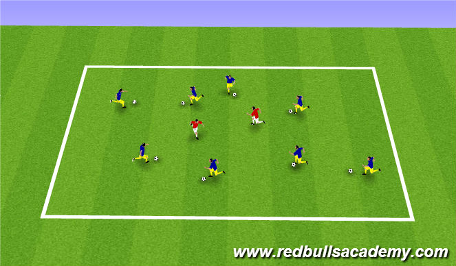 Football/Soccer Session Plan Drill (Colour): Warm up hunter ball