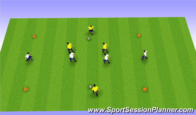 Football/Soccer Session Plan Drill (Colour): Shielding in controlled game situations