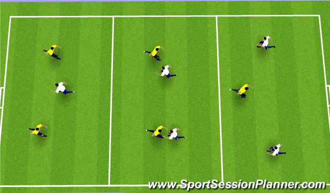 Football/Soccer Session Plan Drill (Colour): Shielding in the flow of the game