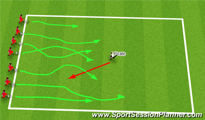 Football/Soccer Session Plan Drill (Colour): Pirate game