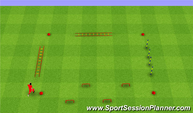 Football/Soccer Session Plan Drill (Colour): Agility run. Zwinność.