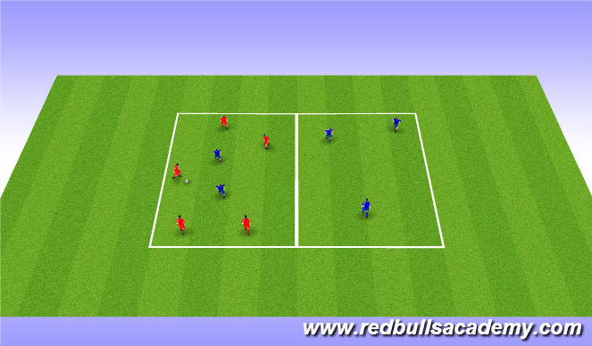 Football/Soccer Session Plan Drill (Colour): 5 on 2 passing grids