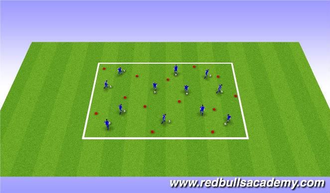 Football/Soccer Session Plan Drill (Colour): Ball Mastery and Turns Unopposed