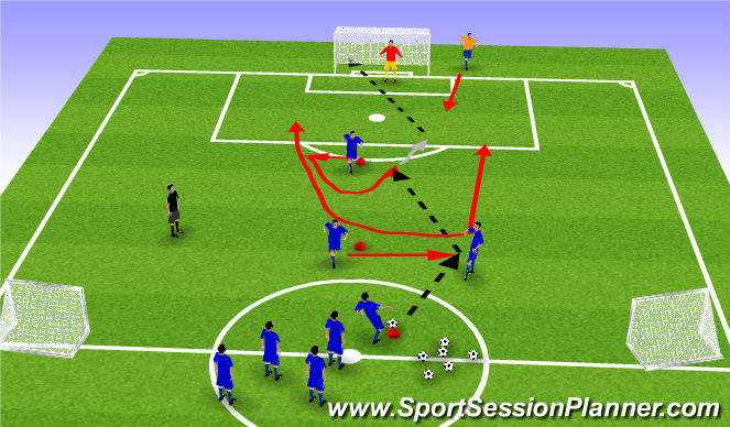 Football/Soccer Session Plan Drill (Colour): movement off the ball 3