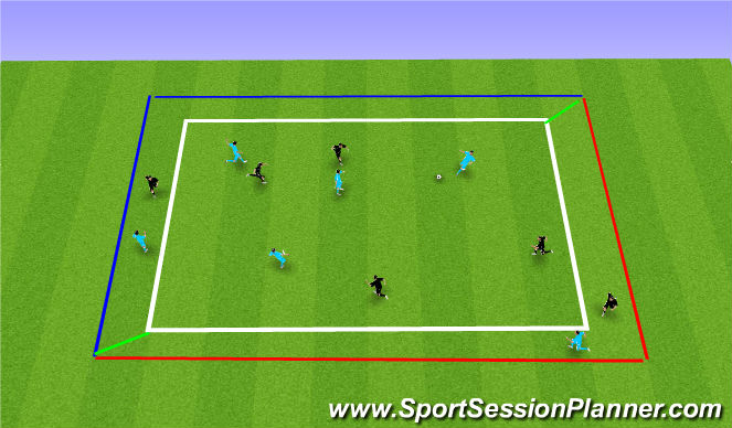 Football/Soccer Session Plan Drill (Colour): Possesion with 1v1 Zones