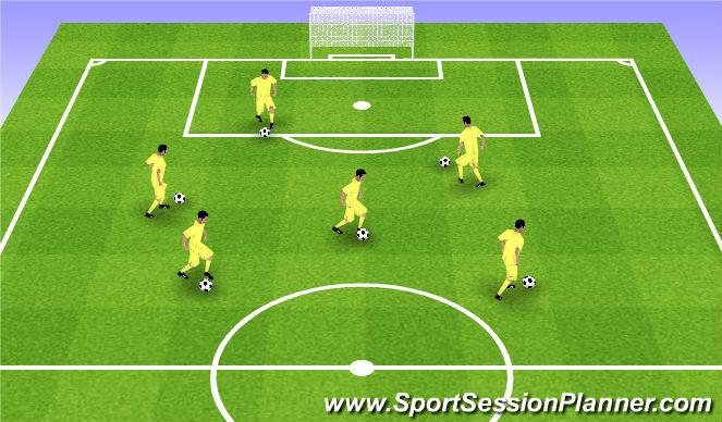 Football/Soccer Session Plan Drill (Colour): Rozgrzewka - prowadzenie z elementami koordynacji