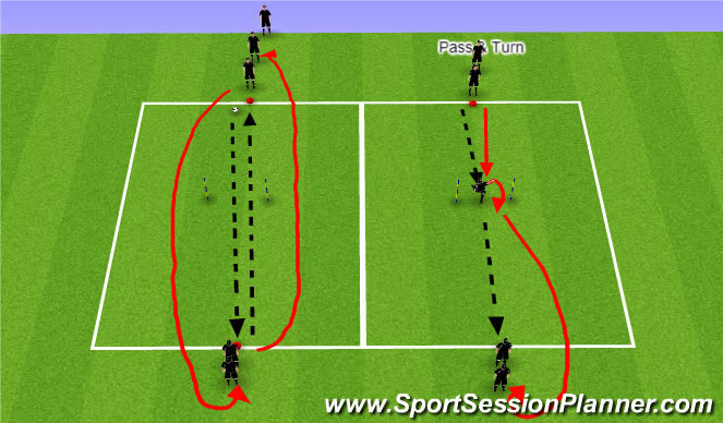 Football/Soccer Session Plan Drill (Colour): Passing Lines 1