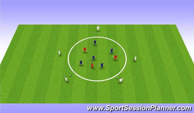 Football/Soccer Session Plan Drill (Colour): Part practice: 5v3 + 5