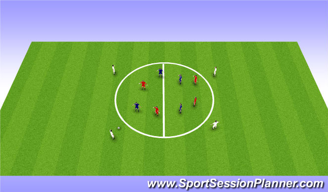 Football/Soccer Session Plan Drill (Colour): Part practice progression: 4v4 +4