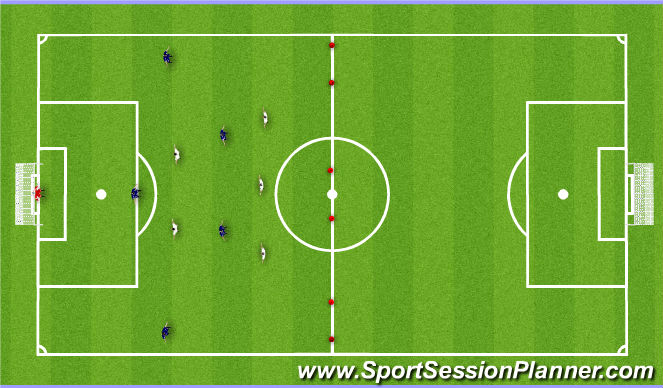 Football/Soccer Session Plan Drill (Colour): Skill Game: 6v5