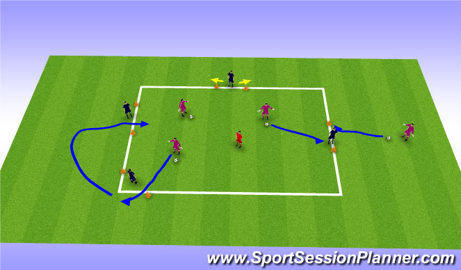 Football/Soccer Session Plan Drill (Colour): 1v1 Skill with gates