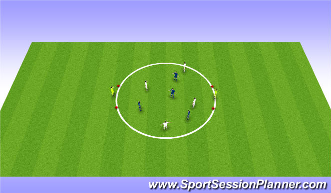 Football/Soccer Session Plan Drill (Colour): 4v4 Circle Game