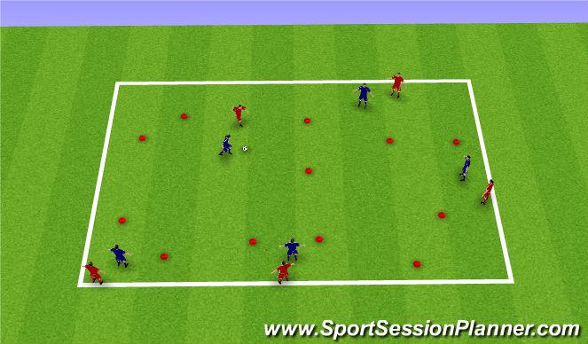 Football/Soccer Session Plan Drill (Colour): 5v5 Gate Game