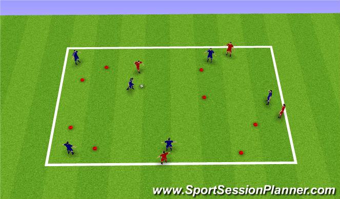 Football/Soccer Session Plan Drill (Colour): 6v4 Gate Game