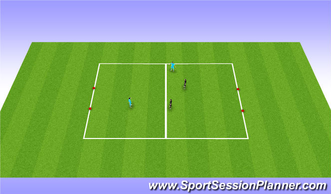 Football/Soccer Session Plan Drill (Colour): Part Practice: 2v2