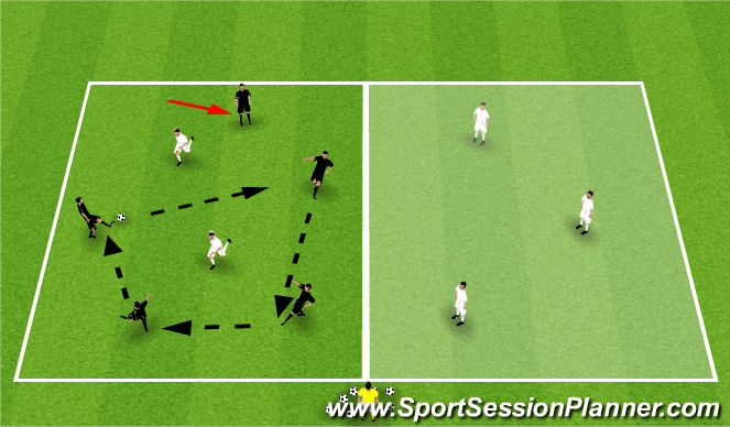 Football/Soccer Session Plan Drill (Colour): Warm Up - Half Field Possession