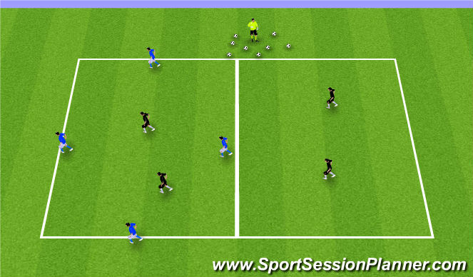Football/Soccer Session Plan Drill (Colour): GU12: 4v2's Warm-up