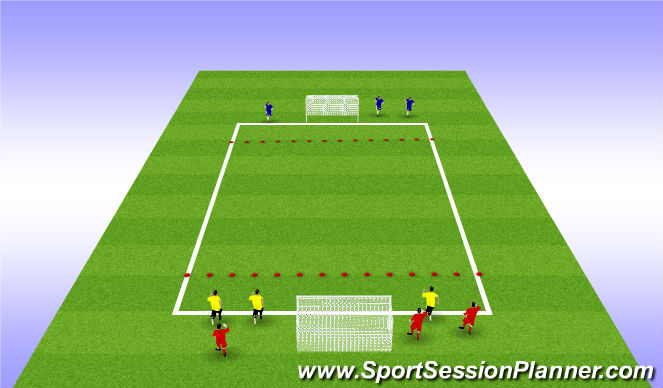 Football/Soccer Session Plan Drill (Colour): teamwork to shoot