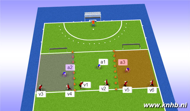 Hockey Session Plan Drill (Colour): oefening press 1/3