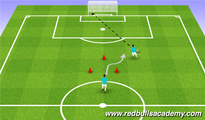 Football/Soccer Session Plan Drill (Colour): Technical Repetition - Driven Shot