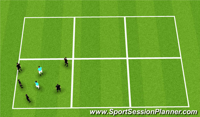 Football/Soccer Session Plan Drill (Colour): Rondo; 5v1 10 touch 1v1