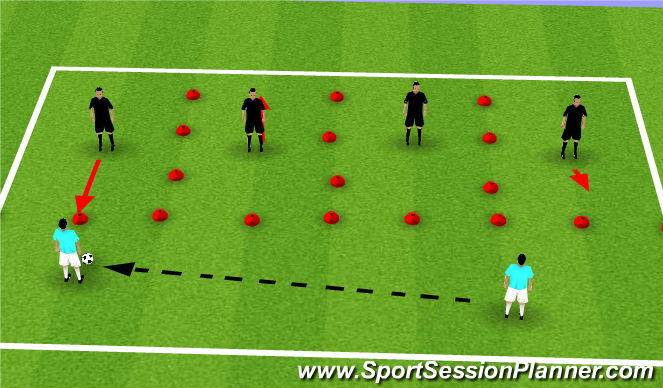 Football/Soccer Session Plan Drill (Colour): Guided Passive Defending