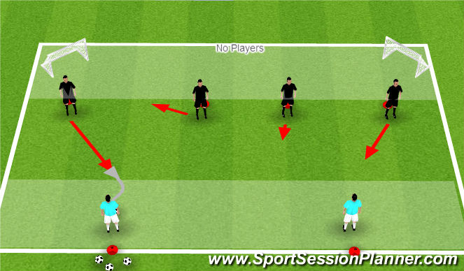 Football/Soccer Session Plan Drill (Colour): Screening Passes w 2 Goals