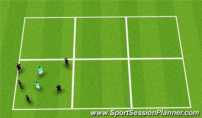 Football/Soccer Session Plan Drill (Colour): Rondo; 5v1 10 touch 1v1