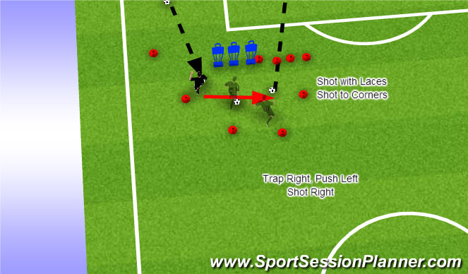 Football/Soccer Session Plan Drill (Colour): Left Winger Shooting Station