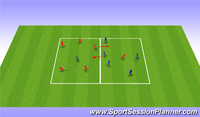 Football/Soccer Session Plan Drill (Colour): Warm up 4v2
