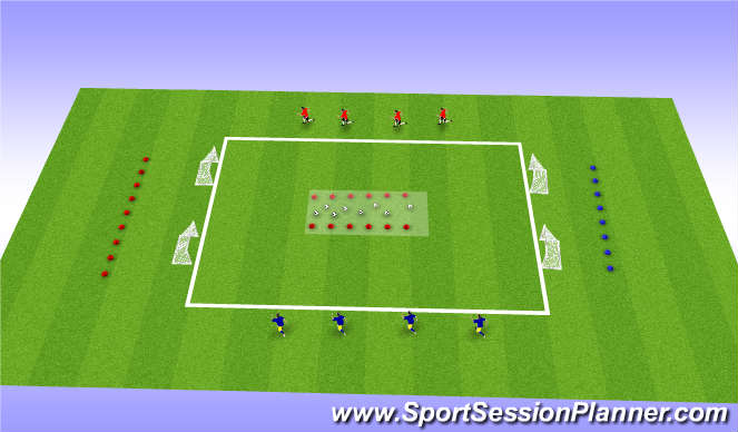 Football/Soccer Session Plan Drill (Colour): 4 Goals Game