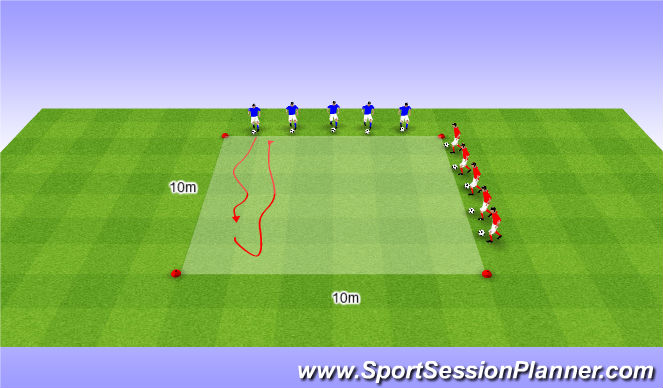 Football/Soccer Session Plan Drill (Colour): WU | dribblen | kappen