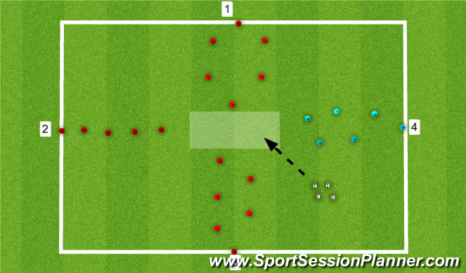 Football/Soccer Session Plan Drill (Colour): SAQ 3v1