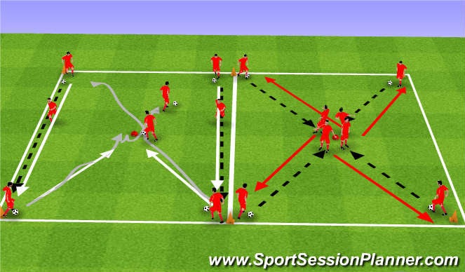 Football/Soccer Session Plan Drill (Colour): Upphitun 1.