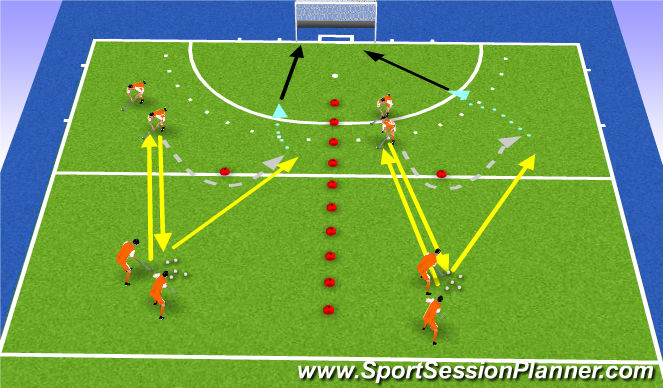 Hockey Session Plan Drill (Colour): high backhand receiving