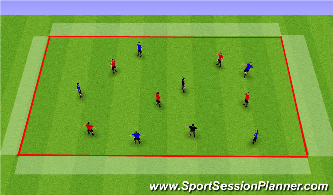 Football/Soccer Session Plan Drill (Colour): 5v5+2 - Four Zone Game