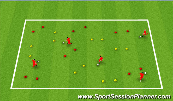Football/Soccer Session Plan Drill (Colour): Dribbling & Turning in Pairs