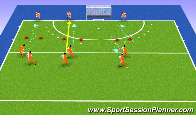 Hockey Session Plan Drill (Colour): standard warmup
