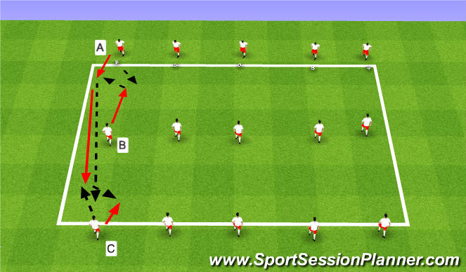 Football/Soccer Session Plan Drill (Colour): Warmup-short/short/long